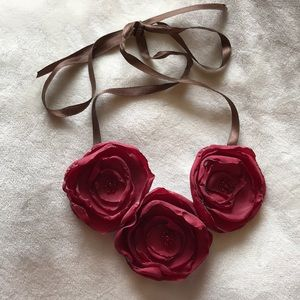 Jewelry - Red Fabric Floral Necklace